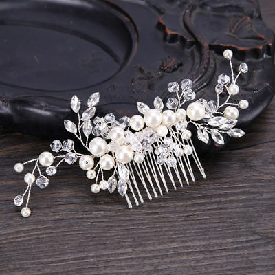 Wedding Bridal Fashion Hair Accessory White Crystal Pearl Bridesmaids Hair Comb