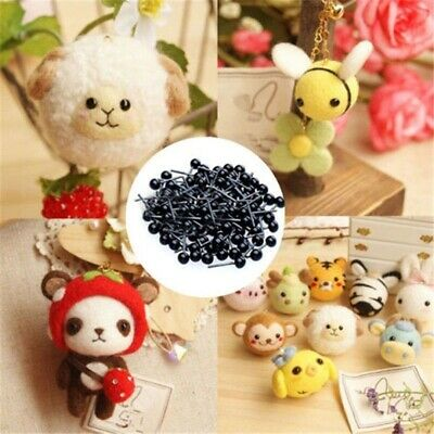 100 Pcs Glass Eyes 2/3/4mm Needle Felting Teddy Bears Dolls Animals Black Eyes
