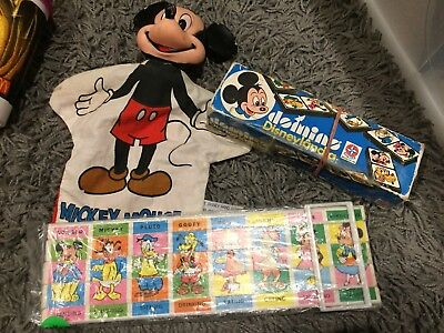 Lot Of Vintage Mickey Mouse Disney Toys Puppet Puzzle Dominoes Antique