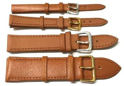 6mm - 24mm GENUINE SOFT LEATHER TAN BROWN COLOUR WATCH STRAP BAND with PINS