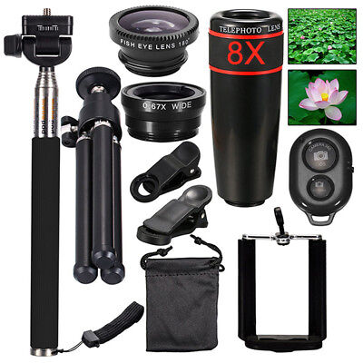 10in1 Lens Phone Camera Cell Clip Universal Optical Telescope Kit Mobile 8x Zoom