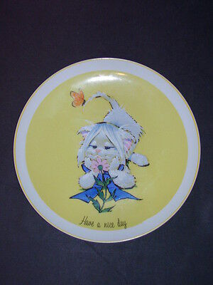 Vintage FRIENDLY GREETERS Sunshine Plate Have A Nice Day Cute Cat 1973 Japan Col