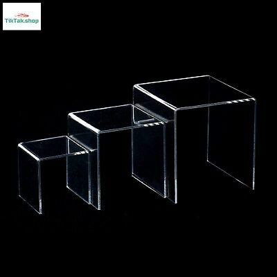 Clear Acrylic Display 3 Risers Set Display Jewelry Showcase Fixtures Tray Stand