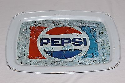"VINTAGE PEPSI COLA LITHOGRAPHED METAL TIN SERVING TRAY 14 1/2"" x 11"" x 3/4"" GOOD"