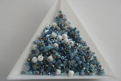 Original Toho Pale Blue Seed Bead Mix, Bead Soup wholesale. 10 grams. #1009