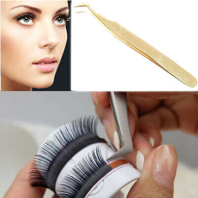 Eyelash Extension Stainless Steel Tweezer Pointed Curved Tip Tool for Makeup Kit