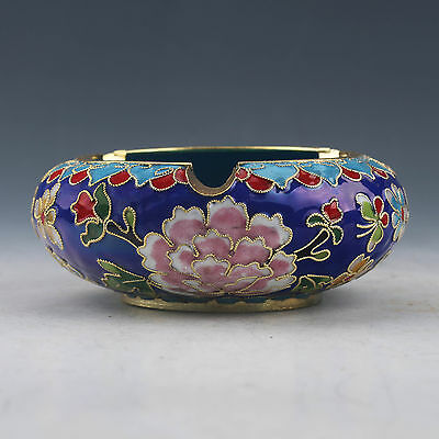 Delicate Chinese Cloisonne Hand-Painted Flowers Ashtray