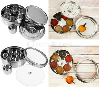 Stainless Steel Indian 7 Spice Tin Dish 2 Lids Tandoori Masala Dabba Spices