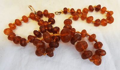 Antique Victorian Hand Cut Faceted Amber Bead Necklace