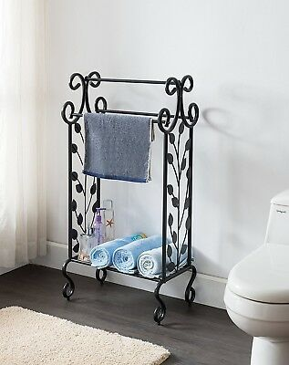 Towel Rack Black Bathroom Vintage Industrial Floor Standing Metal Storage Shelf