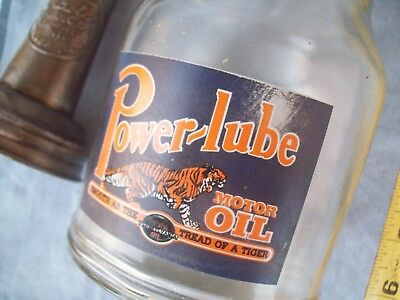 Power lube MOTOR OIL 1 QUART GLASS OIL BOTTLE Vintage.