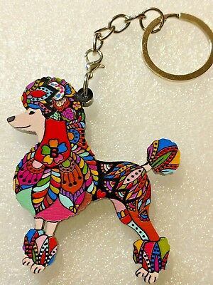 Poodle Dog Pup Acrylic Key Ring Multicolor Floral Keychain
