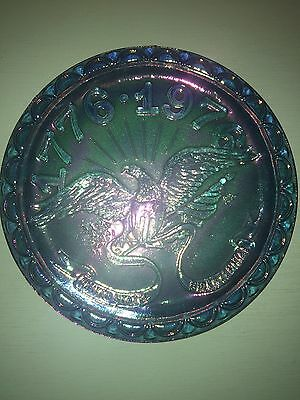 Indiana Bicentennial Iridescent Carnival Glass Plate 1776-1976 Blue Vintage
