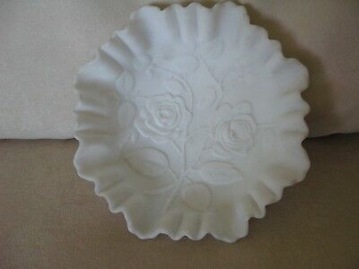 Imperial Open Rose Doeskin White Milk Glass Crimped Bowl Vintage 1950s Matte EX!