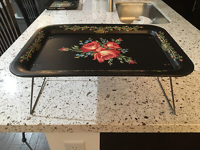 Bed Breakfast Tole Tray RARELY SEEN Floral Toleware Excellent Condition