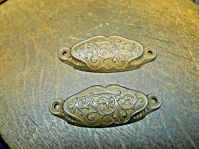2 Ornate Antique Victorian Eastlake Cabinet Drawer Pulls