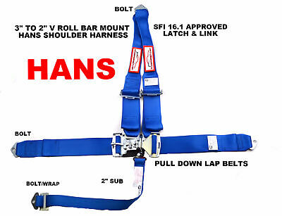 "Hans Racing Harness Sfi 16.1  5 Point V Roll Bar Mount 3"" Latch & Link Blue"