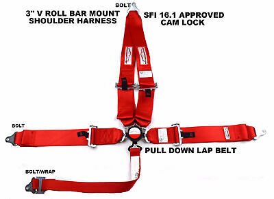 "Sfi 16.1 Racing Harness 5 Point V Roll Bar Mount 3"" Cam Lock Seat Belt Red"