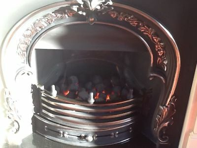 grand cast iron ivory colour marble surround , gas-fire &,hearth