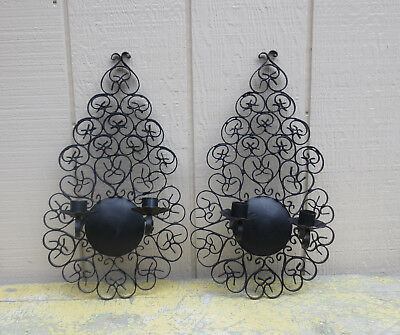 2 VINTAGE Black Iron WALL SCONCES Made in Spain Architectural CANDLE HOLDERS 16""