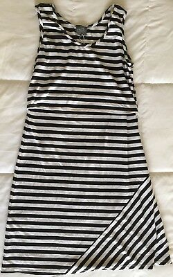 NWOT Milk Nursingwear BLACK & White Striped Dress Sz  Medium