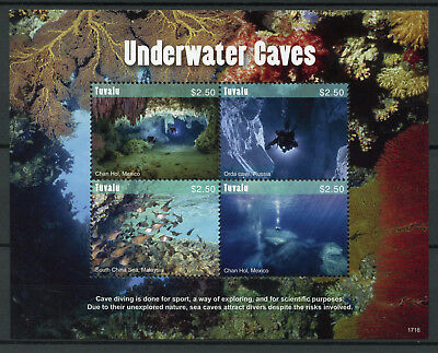 Tuvalu 2017 MNH Underwater Caves Chan Hol 4v M/S Diving Fish Tourism Stamps