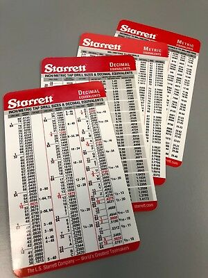 10 pack Starrett Machinist Pocket Chart Decimal / Metric Conversion