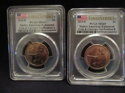2014D Native American enhanced coin and currency set position A and B PCGS MS69.