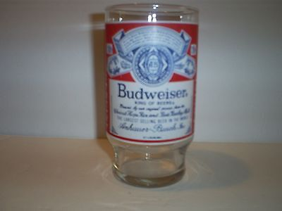 VINTAGE BUDWEISER GLASS--12 oz--VERY NICE--GREAT COLLECTORS ITEM!