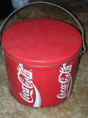 VINTAGE COCA COLA CLASSIC COKE SODA LARGE METAL TIN red white logo container