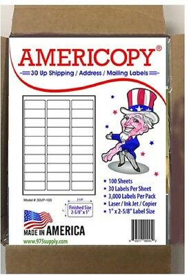 "30UP 2.625""x1"" SHIPPING/ADDRESS LABELS 30/SHEET 100 SHEETS/PACK 3,000 LABELS"