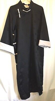 VTG ESME mens Traditional Sz Large Black Poly Satin Chinese Robe Frog close EUC