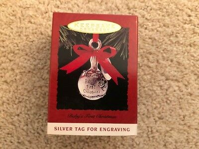 1993 Baby's First Christmas Hallmark  Ornament Silver Tag For Engraving Mib