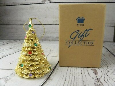Vintage 1996 Avon Holiday Sparkle Christmas Tree Ornament Gold Tone New in Box
