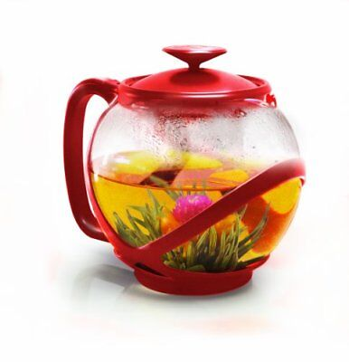 Primula PTRE-2340 Tempo Teapot with Infuser and Lid 40-Ounce Red
