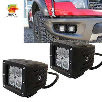 2x 3inch Pods Flood LED Work Light Bar Driving Fog Lamp Cube Offroad Auto Truck