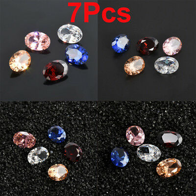 Lot 7Pcs Multi-color Natural Zircon Smooth Oval Cut Gems Loose Gemstones Jewelry