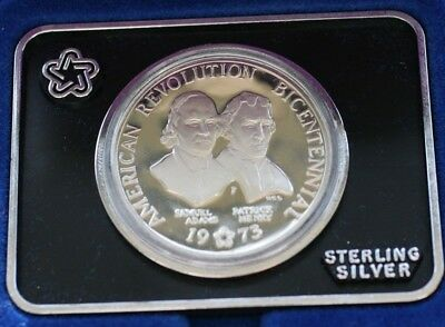 1973 Bicentennial Commemorative Sterling Silver Medal Round Adams & Henry COA