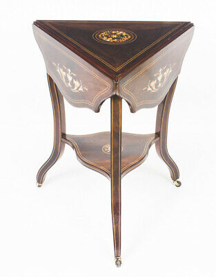 Antique Edwardian Triple Drop Flap Occasional  Side Table c.1900