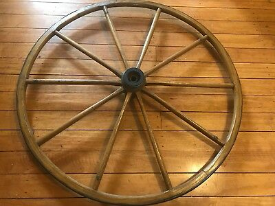 """Antique Wood & Metal 28.5"""" Wagon Wheel Yard Art Wooden Aged Great Condition"""