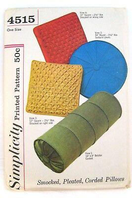 Vtg Simplicity 4515 Pillow Smocked Pleated Corded Round Square Bolster Uncut FF