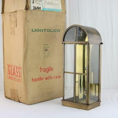 VTG Lightolier Antique Brass Lantern Beveled Glass 1980s New Old Stock Rare