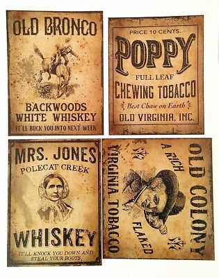 Vintage Style Whiskey Tobacco Label Sticker Sheet, Set of 4 Large Labels