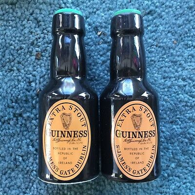 Vintage Guinness Ceramic Salt & Pepper Shakers Shape of Bottles Made in Ireland