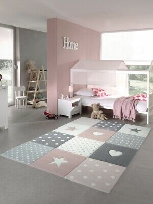Kids rug Play carpet Kids room Baby rug Star heart in Pink White Gray
