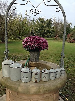 French c1920's Snow On Mountain Enamelware 8 Piece Cannister Set