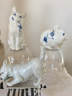 Royal Copenhagen Blue Fluted Cat, Rabbit& Westie Dog Figurines, Sold As Set Only