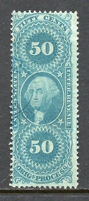 Scott # R60c, used, F, 50¢ Original Process, 1862, Blue Hand-Stamped Oval Cancel