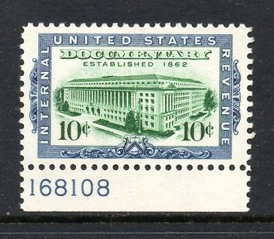 Scott # R733, unused, VLH, XF, 10¢ Documentary, 1962, Plate Single, No Faults!
