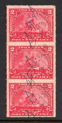 Scott # R164, used strip of 3, F, 2¢ Battleship, 1898, Neat Cancel, Much OG